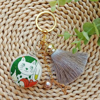 [Macaron Key Ring] Green Cat