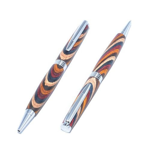 Wooden rotary ballpoint pen (kind of hard wood dyed; plating of chrome) (TP-C-CGF)