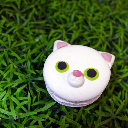 【Saturn Ring】 White Cat IV Key Ring | Merry Planet Series | Saturn Ring Pet Planet: Cat (White) | Light Earth Creation. Water repellent. Can change necklace / magnet / pin