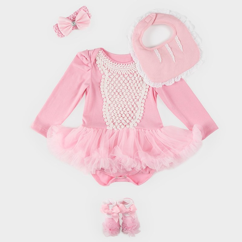 Baby Chiffon Tutu Dress Jumpsuit Gift Box - Aurora (clothing + bib + baby socks)