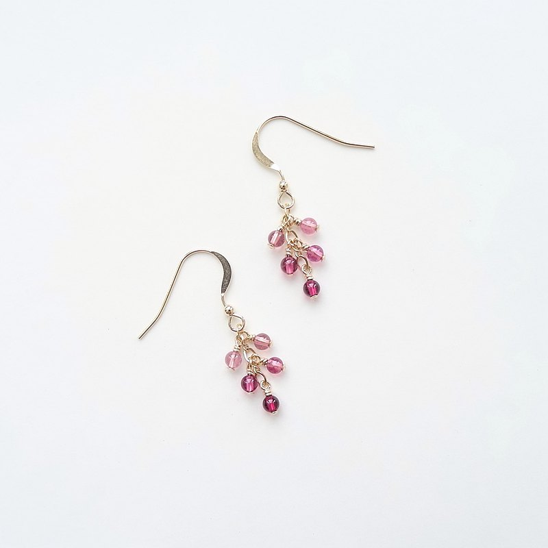 Tourmaline Pink to Burgundy Red Cluster 14K Gold Filled Dangle Earrings