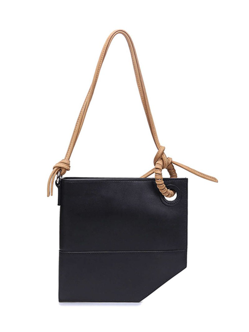 Black pocket bag │ niche original design personality simple wild single shoulder slung portable real cowhide handbag