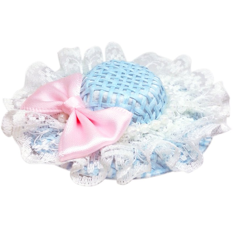 Pearl Lace Bow Sun Hat Hair Clips All Inclusive Handmade Hair Accessories Sun Hat-Sky