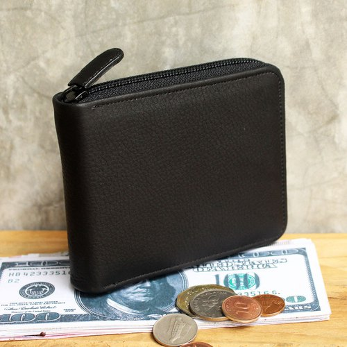 Leather Wallet - Zip Around S - Black (Genuine Cow Leather) / Small Wallet
