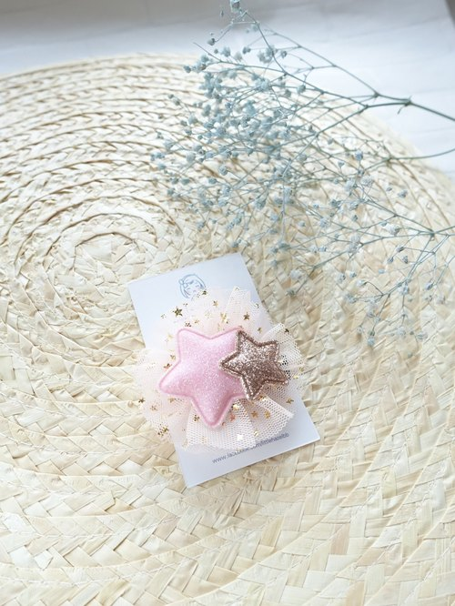 Children hair ornaments. Shiny net yarn star hairpin Liuhai folder (pink + gold)