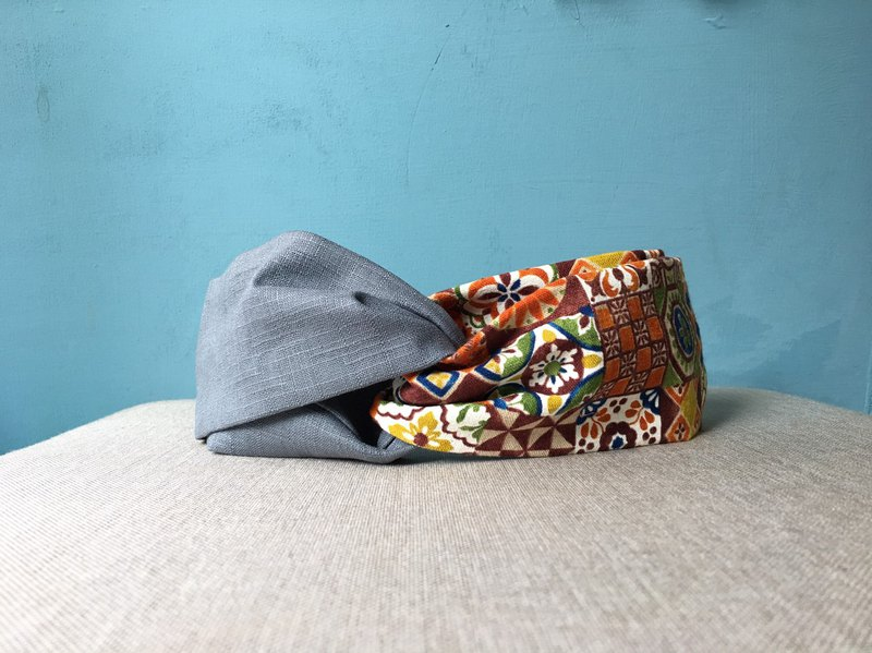 Classic Hairband / Orange Tile-Grey Blue / Japanese Cotton