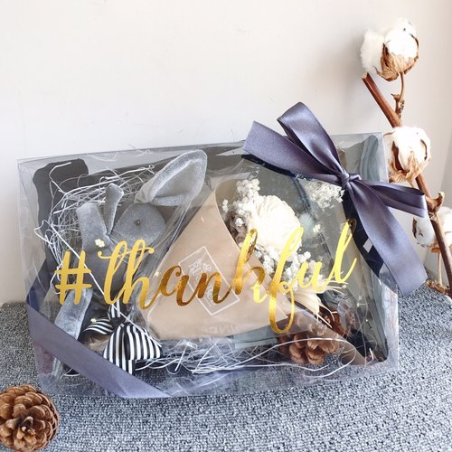 {BUSYBEE} #thankful Christmas gift dry flower thanks gift box gray