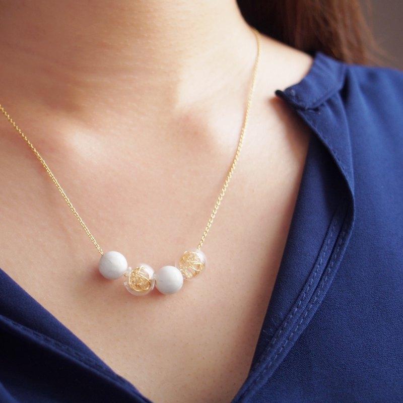 玻璃金絲球・白松石・泡泡圓珠・鍍金銅項鏈 (43cm)