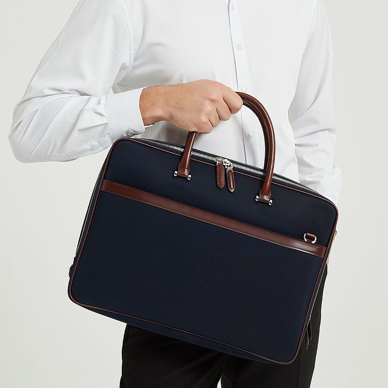Maverick & Co. - Navy Vibrant Double-Zip Briefcase