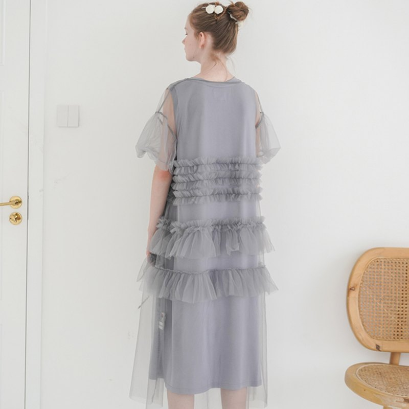 Grey mesh dress - imakokoni