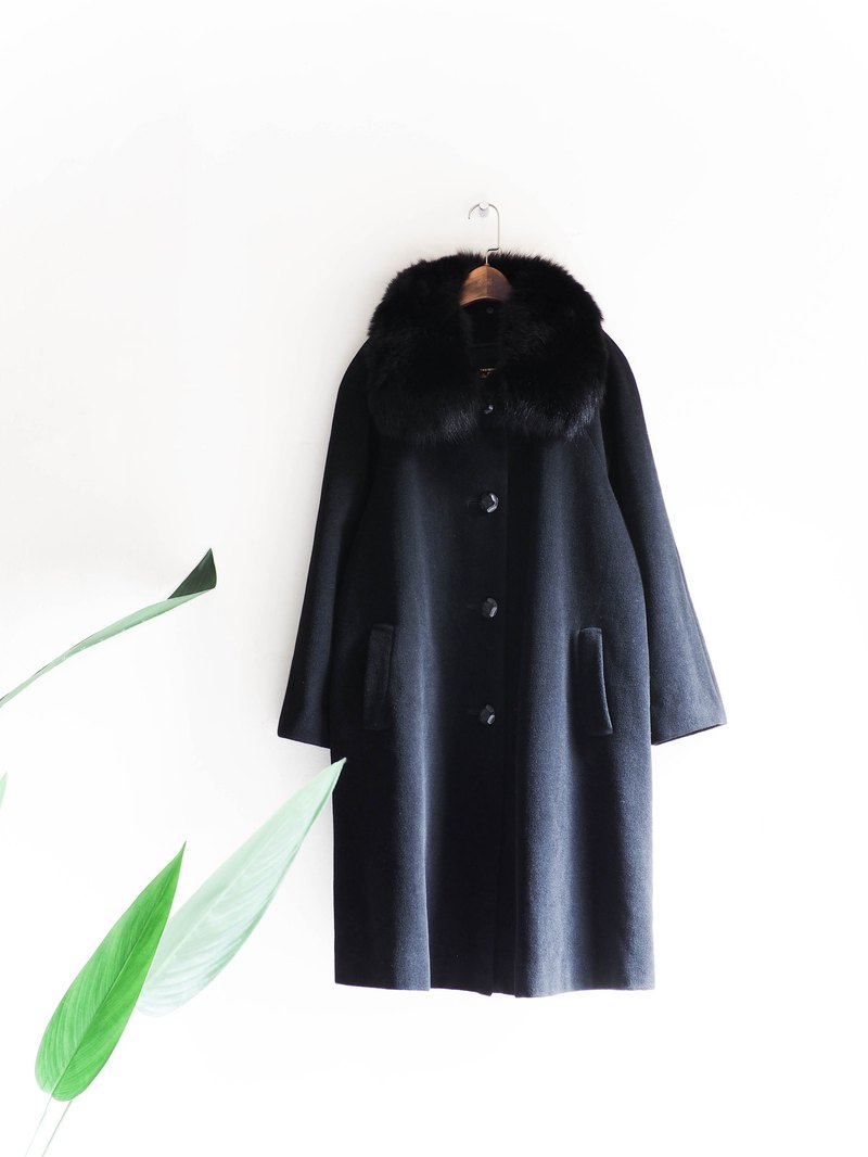River mountains - the Alps maiden's dark soft dream sheep antique hair x fur collar coat wool fur vintage wool vintage overcoat