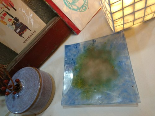 Hand painted glaze tray - island