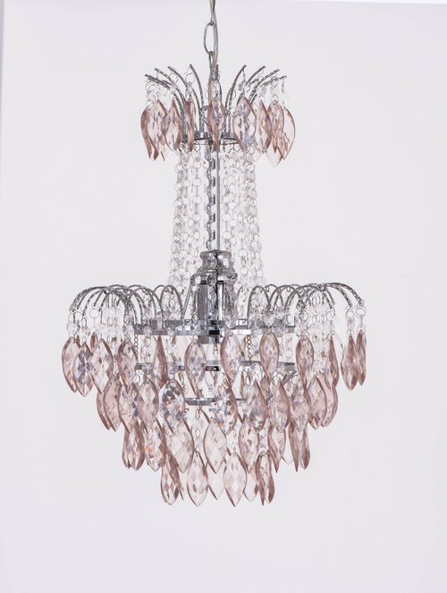 BNL00060- red octagonal acrylic beads champagne chrome chandelier