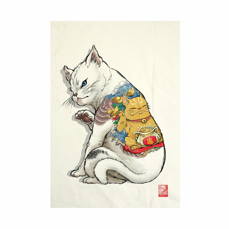 Neko Tattoo Fabric Art  and Tenugui Canvas No frame