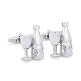Wine Bottle and Glass Cufflinks