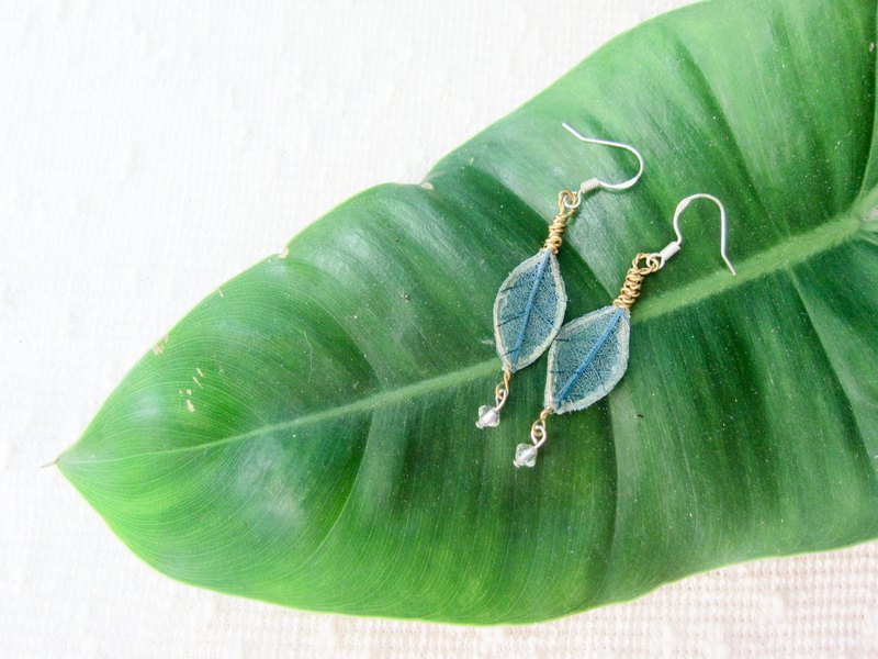 Real leaf handmade earrings Silver ear wires Swarovski crystal