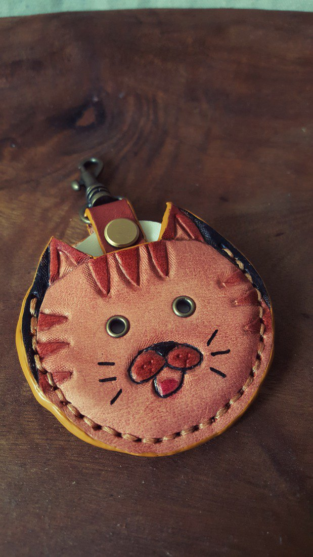 Cute Fat Doodle Comet Cat Gogoro Key Pure Leather Leather Case