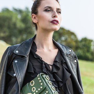 Leather Studded Crossbody— Army green
