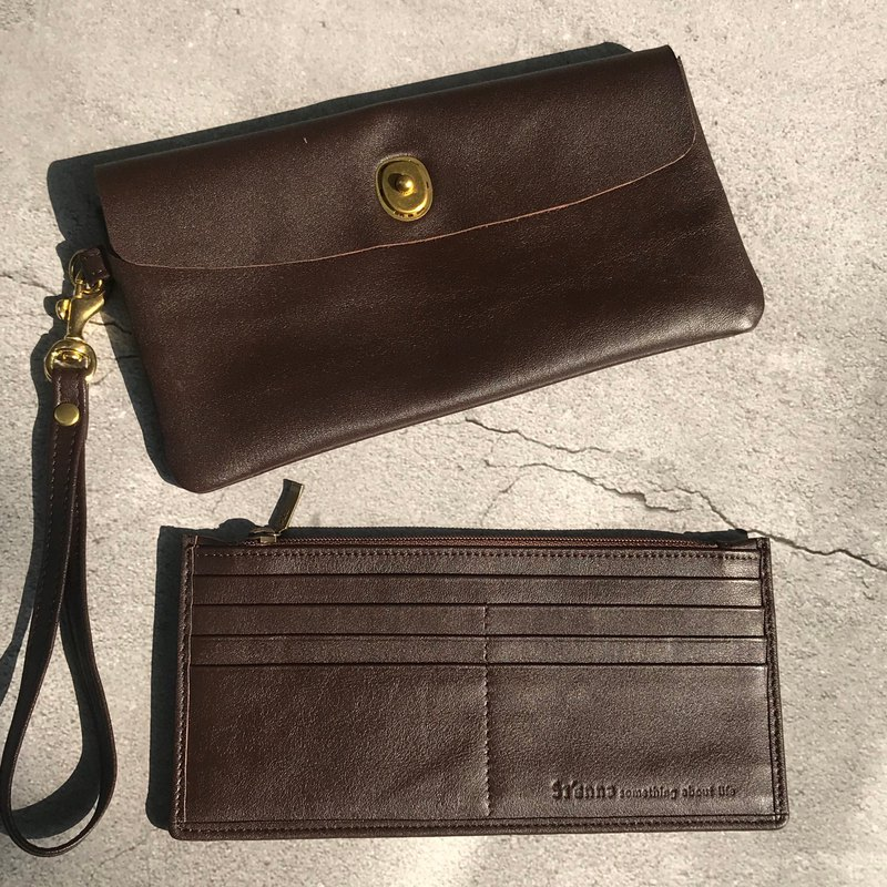 Sienna leather mother design multi-purpose long wallet clutch