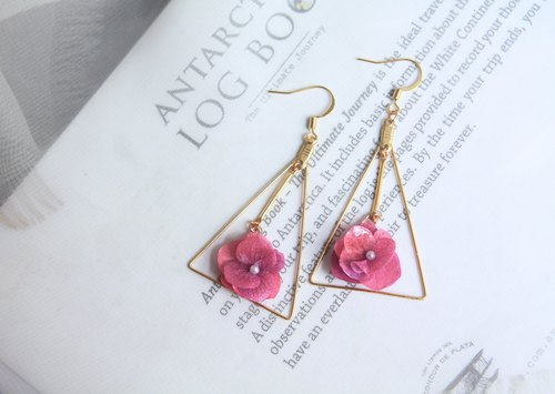 triangular hydrangea earrings flower jewelry