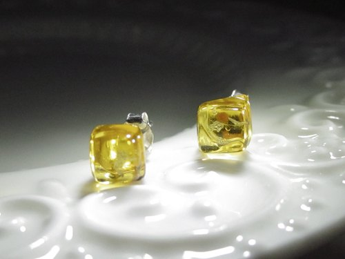 × | gold series | × glass earrings - STM yellow sun - [] type