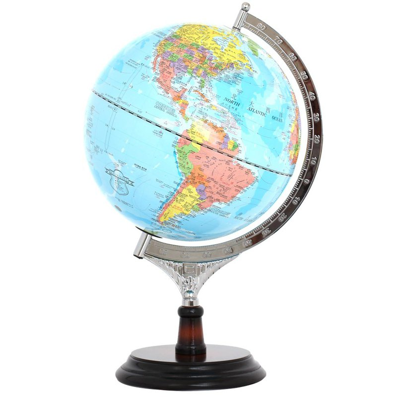SkyGlobe 10-inch executive blue ocean wooden globe (in English and Chinese) (with lights)