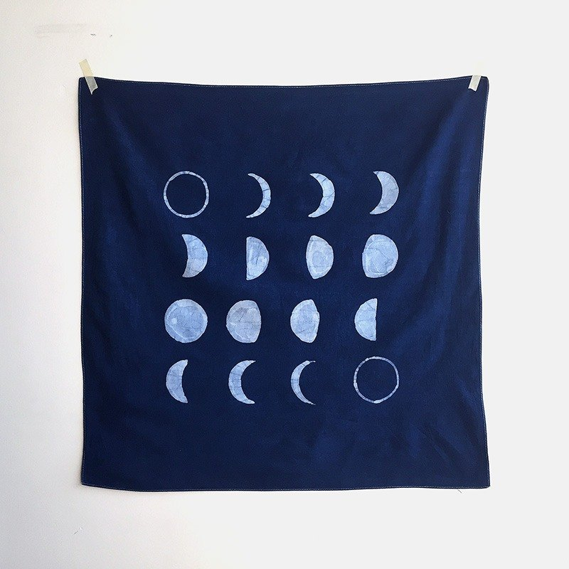 [Note] the age of the moon and stars series vegetation dyed blue dye / batik multifunction towel - Moon phase furoshiki
