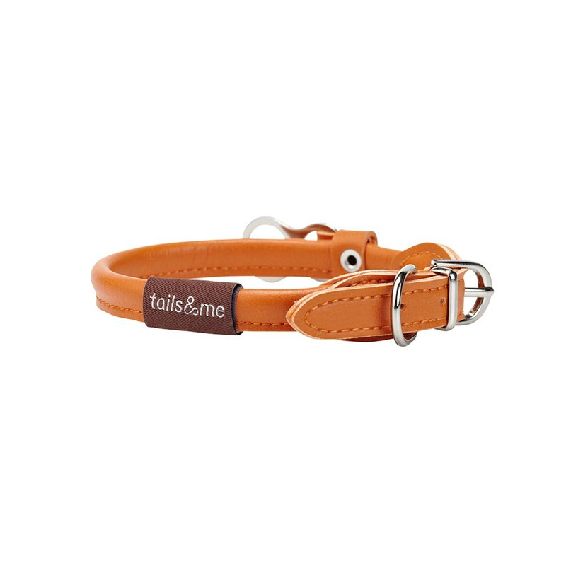 [Tail and me] natural concept leather collar autumn maple orange