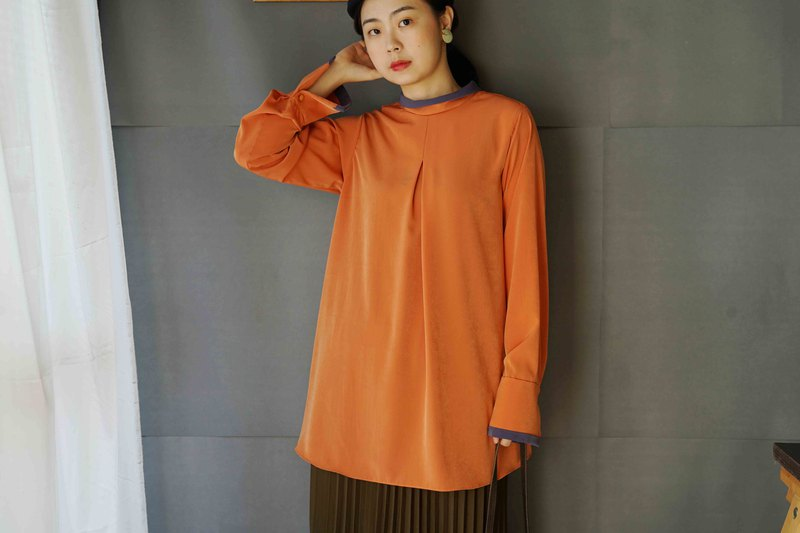 Design by hand-peach orange color long-sleeved lapel top