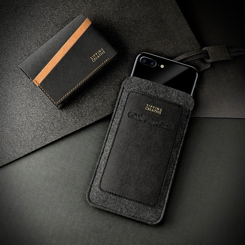 Slim Phone Case_Black+Name Card Holder