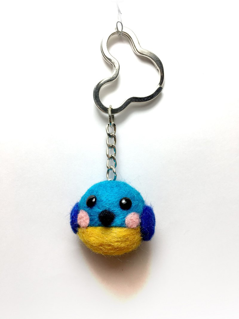 Wool felt cute fat bird key ring charm (blue / yellow)