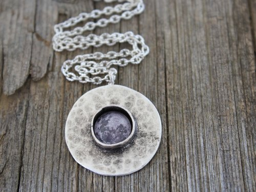 Moon, Full Moon, Moon Necklace, Moon Pendant, Moon Jewelry, Luna, Space Necklace, Space Jewelry, Solar System Necklace, Planets Necklace