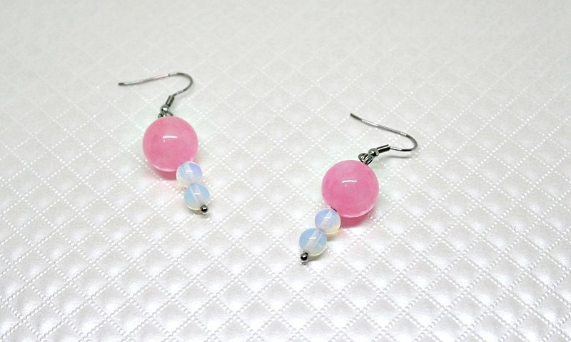 Stainless steel X natural stone hook earrings <sweet doll>