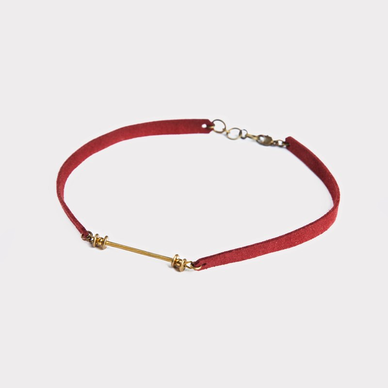Column Type Choker Necklace (Dark Red/Black)