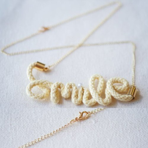 Custom // Crochet Word Pendent Necklace