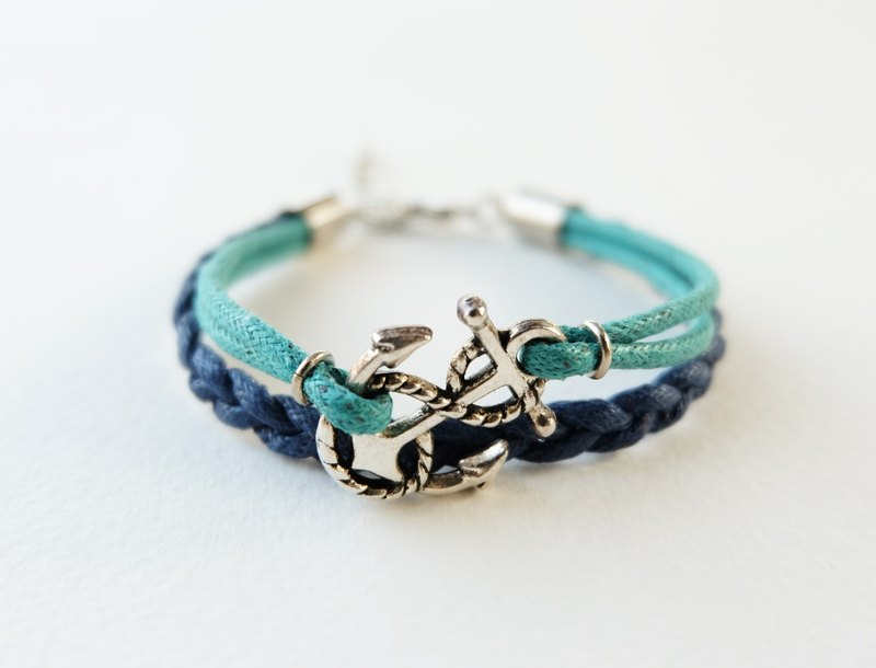 Silver anchor bracelet / navy blue and mint