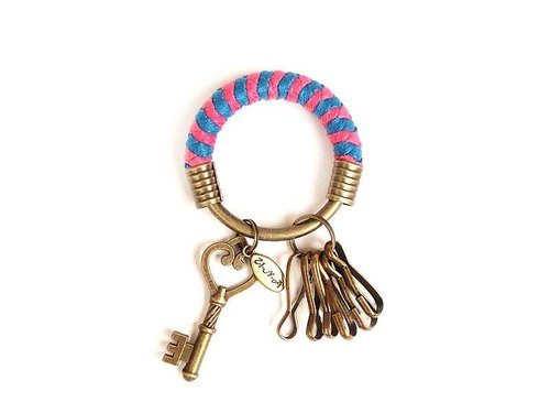 [Na UNA- excellent hand-made] key ring (small) 5.3CM bright blue + pink + key love hand-woven wax rope hoop customization