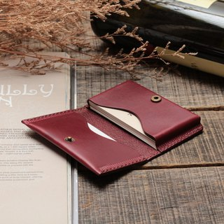 Retro Burgundy red dip dyed yak leather handmade business card holder