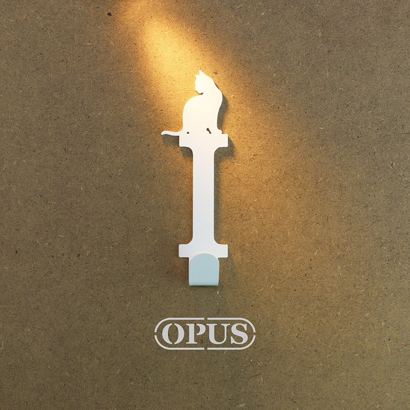 [OPUS Dongqi Metalworking] When the cat meets the letter I-Hanging hook (elegant white) / Wall hanging hook / No mark