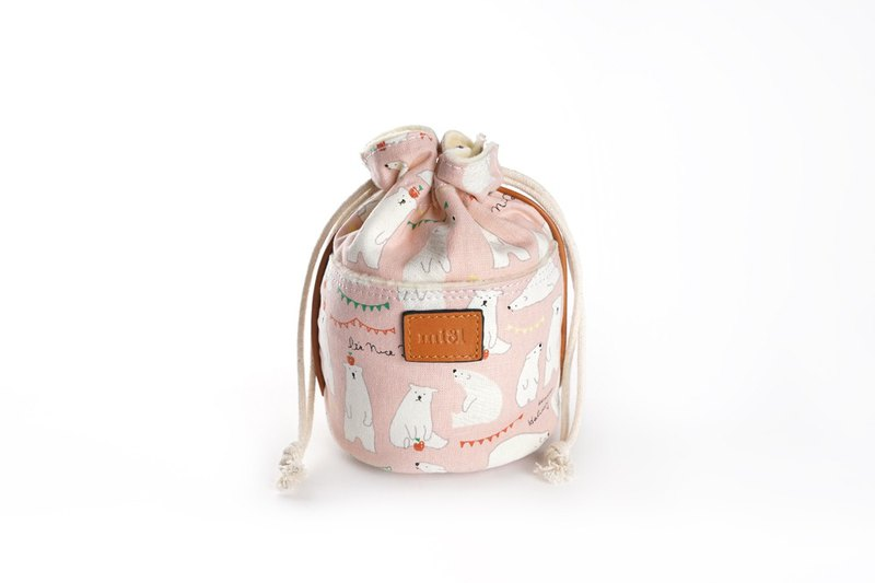 mi81 Cotton Printed camera Pouch (M) Pink Bear