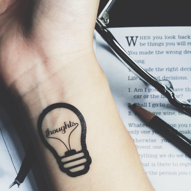 TOOD Tattoo Sticker | Wrist Location Bulb Lettering 'thoughts' Tattoo Sticker (2 pieces)