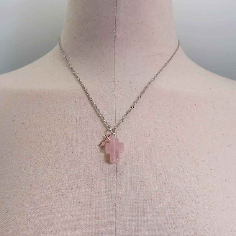 Rose Quartz Silver Double Cross Crystal Necklace Micro-Inlaid Rose Zircon Charm