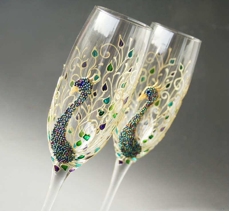 Champagne Wedding Glasses Peacock Glasses Feather Wine Glasses Hand Painted Set