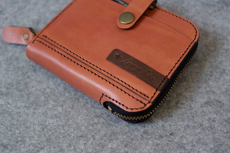 YOURS handmade leather zipper three short folder +7 card bag + zipper coin pocket bright orange leather