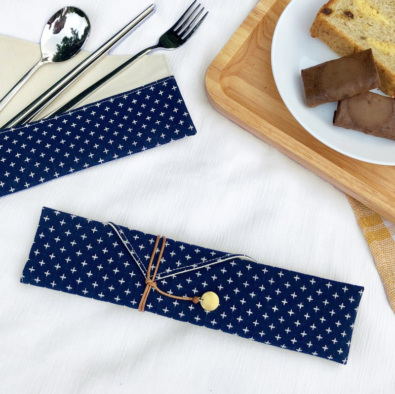 Dark blue tableware set cutlery bag storage bag customized