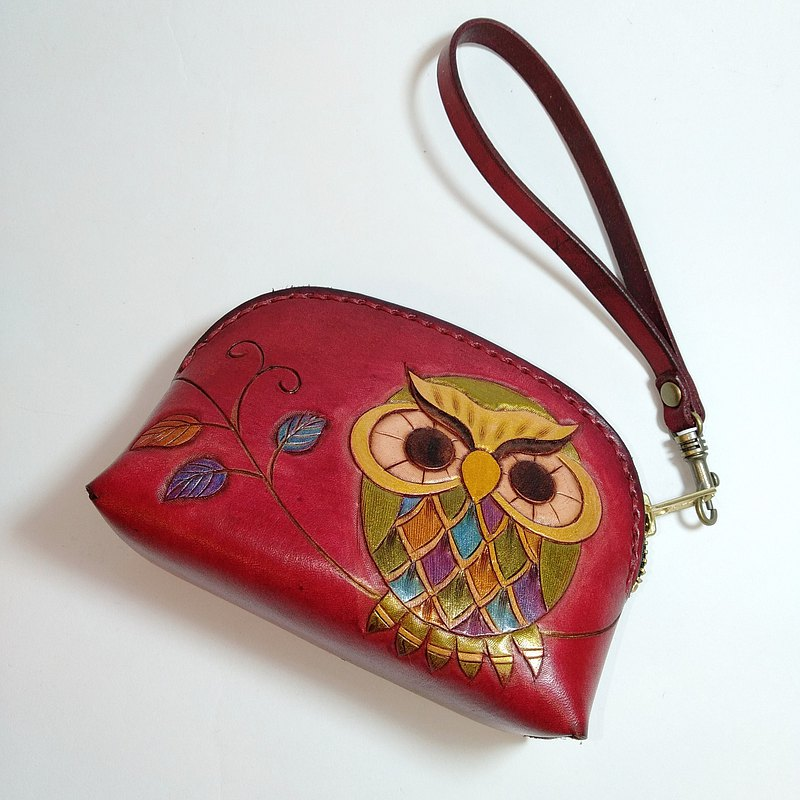 Pino leather pouch bag (owl)
