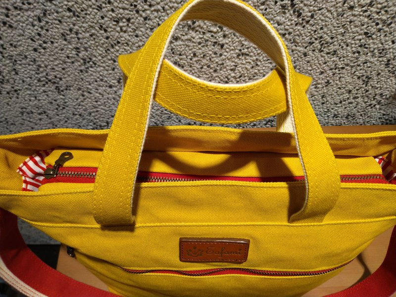 Eafami cotton canvas zipper tote bag yellow (plus size send handmade coin purse)