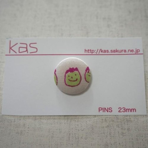 "Hand printed original covered button pin badge""friends"""