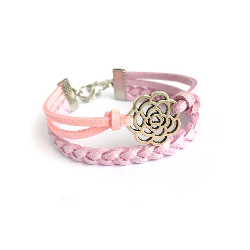 Handmade Double Braided Rose Bracelet–lavender purple limited