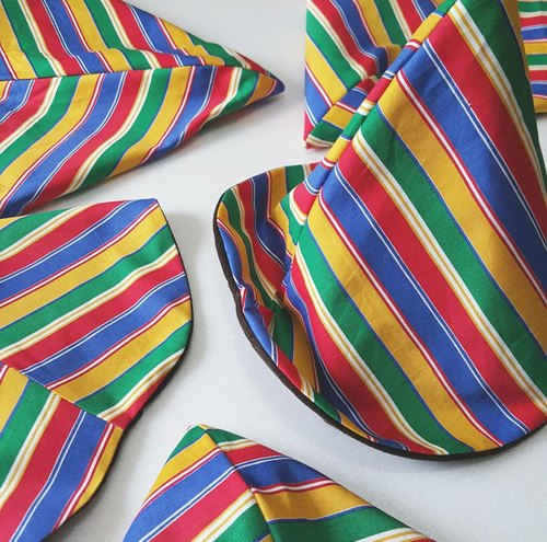Playful colorful stripe handmade hat double sided triangle cap